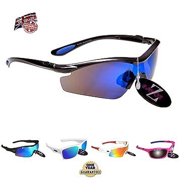 Rayzor Professionelle Leichte UV400 Gun Metal Grau Sports Wrap Schifahren Sonnenbrille, Mit einer 1 Stück Blau Iridium Widergespiegeltes Objektiv.