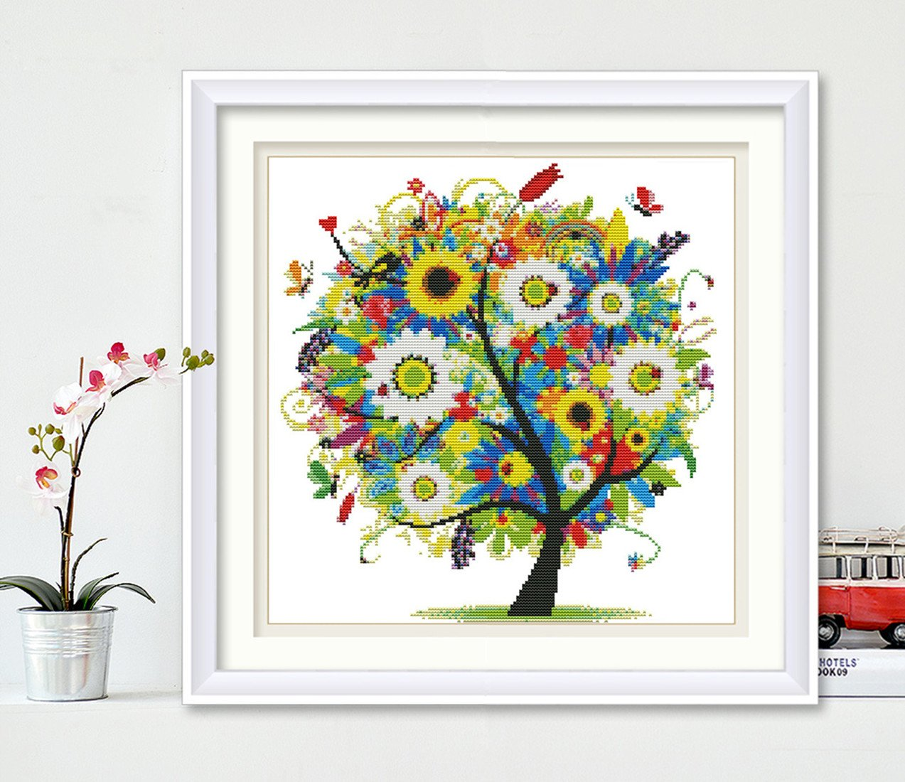 """Cross-Stitching DIY Needlework Happy Tree 11CT Fabric 18.1/"""" x 18.1/"""" Without Frame eGoodn Stamped Cross Stitch Embroidery Kits Printed Pattern"""