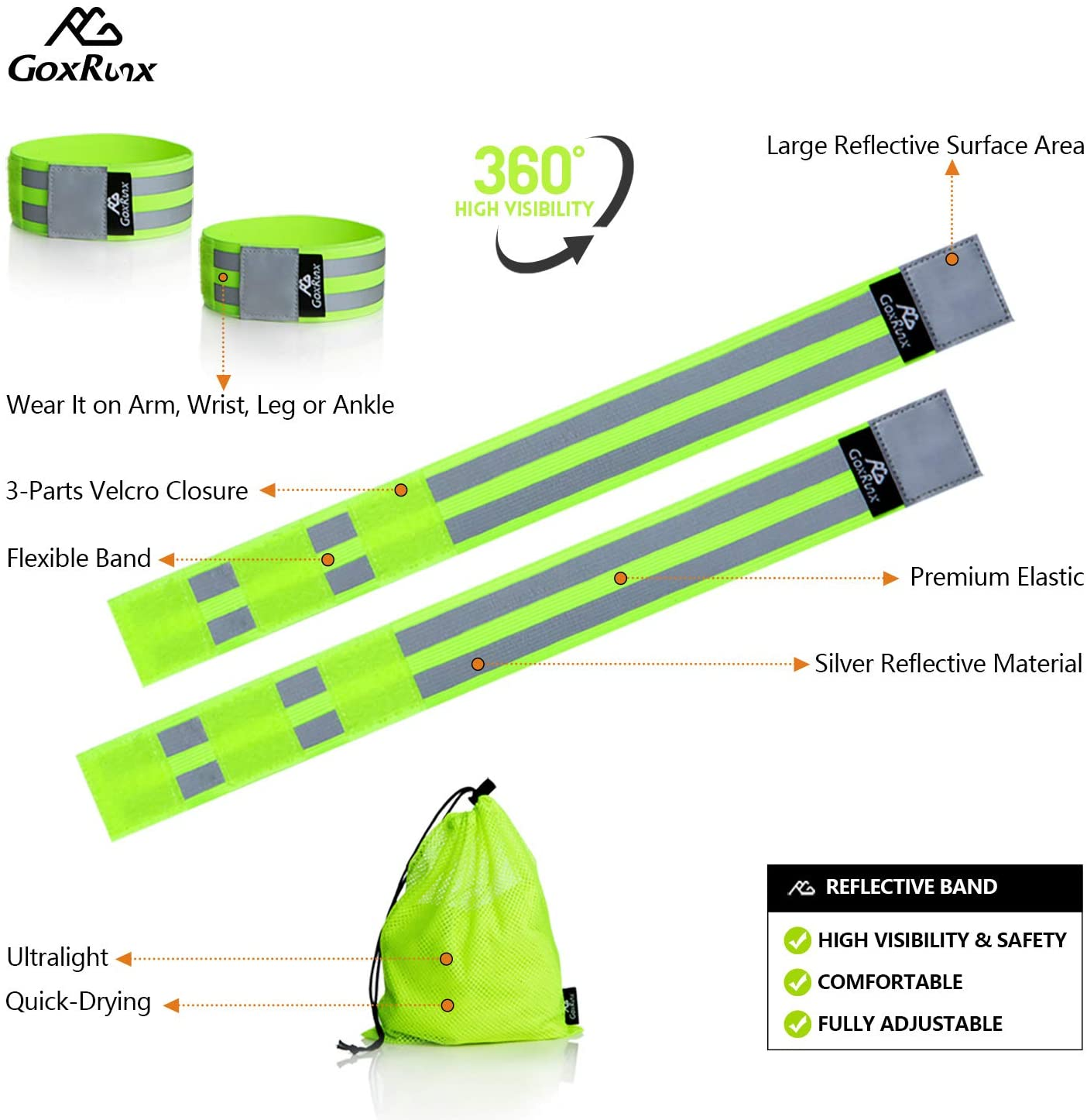 GoxRunx Reflective Bands Running Gear 6 Pack-Adjustable Reflective Armband Arm Wrist Ankle Leg Bands Reflectors -Reflective Tape Straps for Clothing Night Running Cycling Walking -Slap Bracelets : Sports & Outdoors