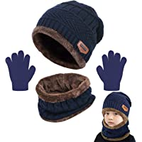 CheChury Niños Sombrero Caliente de Punto y Bufanda Guantes Tubular con Forro de Lana Niña Invierno Calentar Gorro…