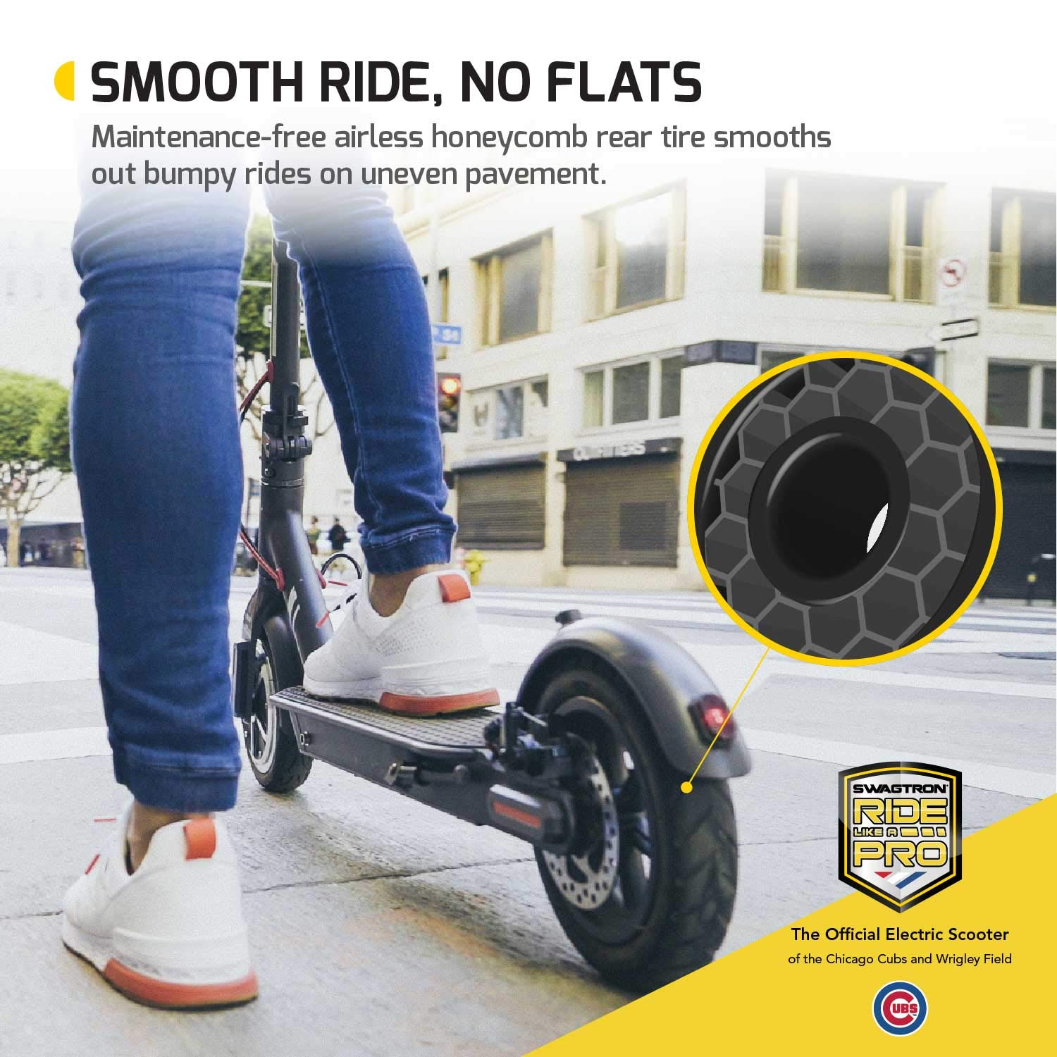 Swagtron High Speed Electric Scooter with 8.5'' Cushioned Tires, Cruise Control and 1-Step Portable Folding - Swagger 5 by Swagtron (Image #7)