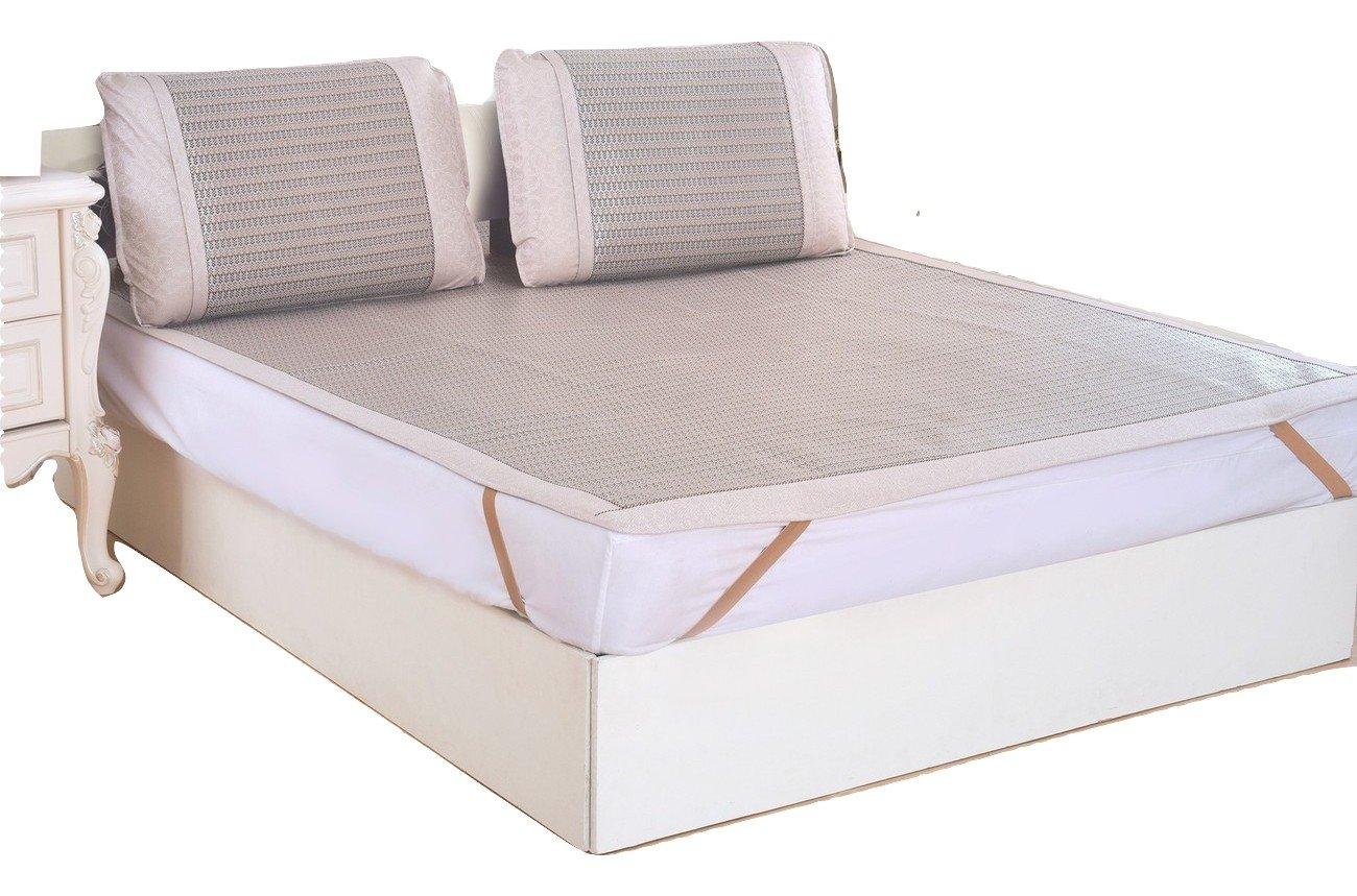 Qbedding Rattan Cooling Summer Sleeping Pad Mattress Topper & Pillow Shams Set (Queen, Glacial)