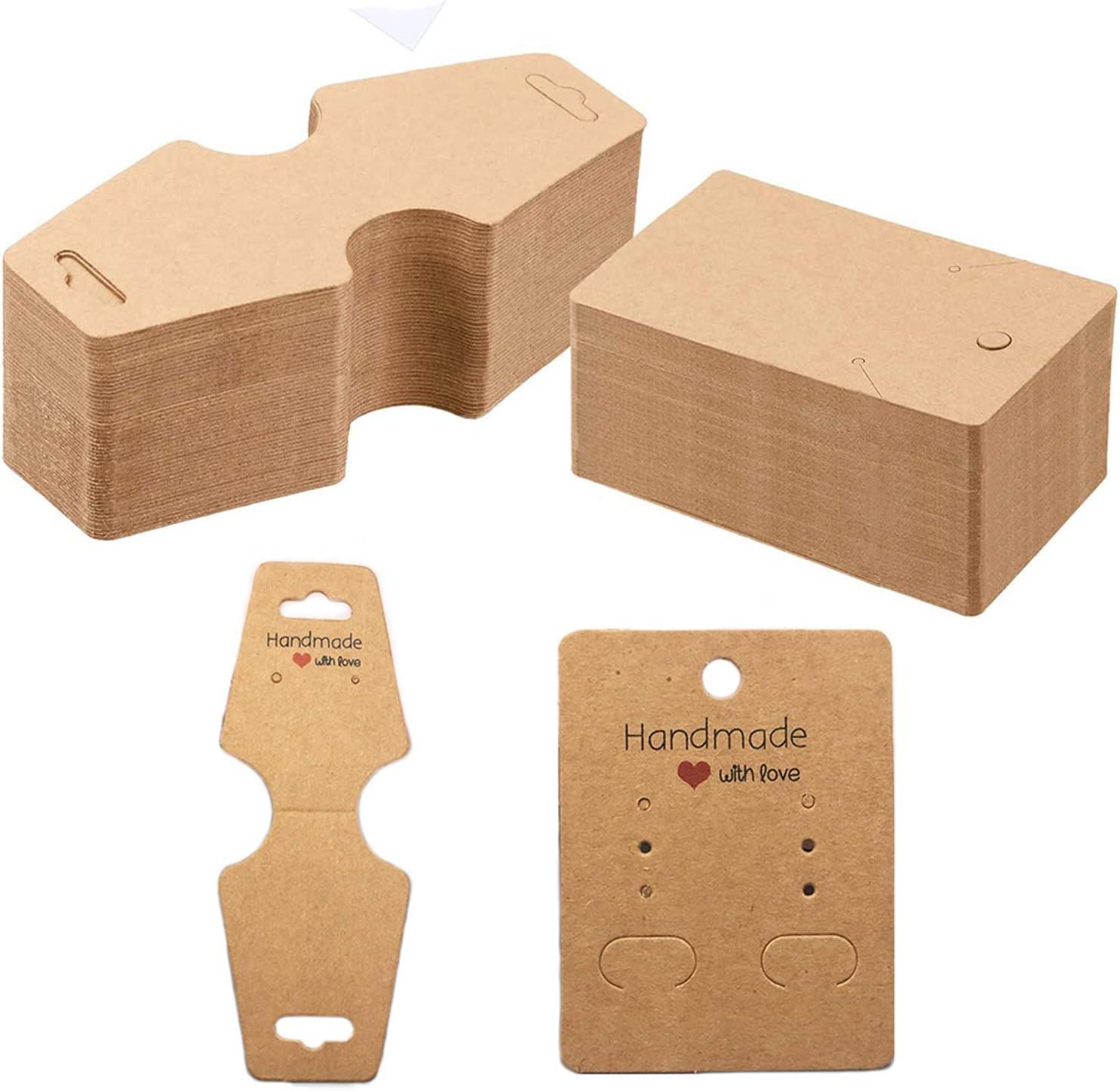 Ohrring-Display-Karten aus Kraftpapier f/ür Ohrstecker Braun Tuparka 120 St/ück Ohrringhalter Karten Halsketten Display Karten mit 120 St/ück Taschen
