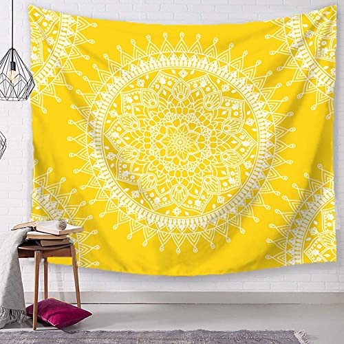 TSDA Bohemian Tapestrise Yellow Mandala Flower Psychedelic Rug Wall Hanging Indian Popular Hippie Tapestry Large-79 x 59 in