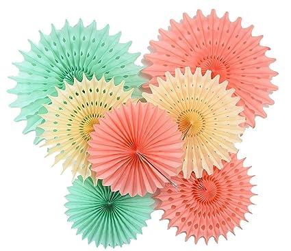 Amazon.com: Furuix Paper Honeycomb Tissue Paper Fan Cream Mint Green ...