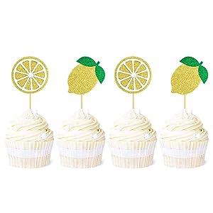 Ercadio 24 Pack Glitter Lemon Cupcake Toppers Fruit Theme Lemon Cupcake Picks Hawaii Luau Tropical Summer Theme Baby Shower Birthday Party Cake Decorations Supplies