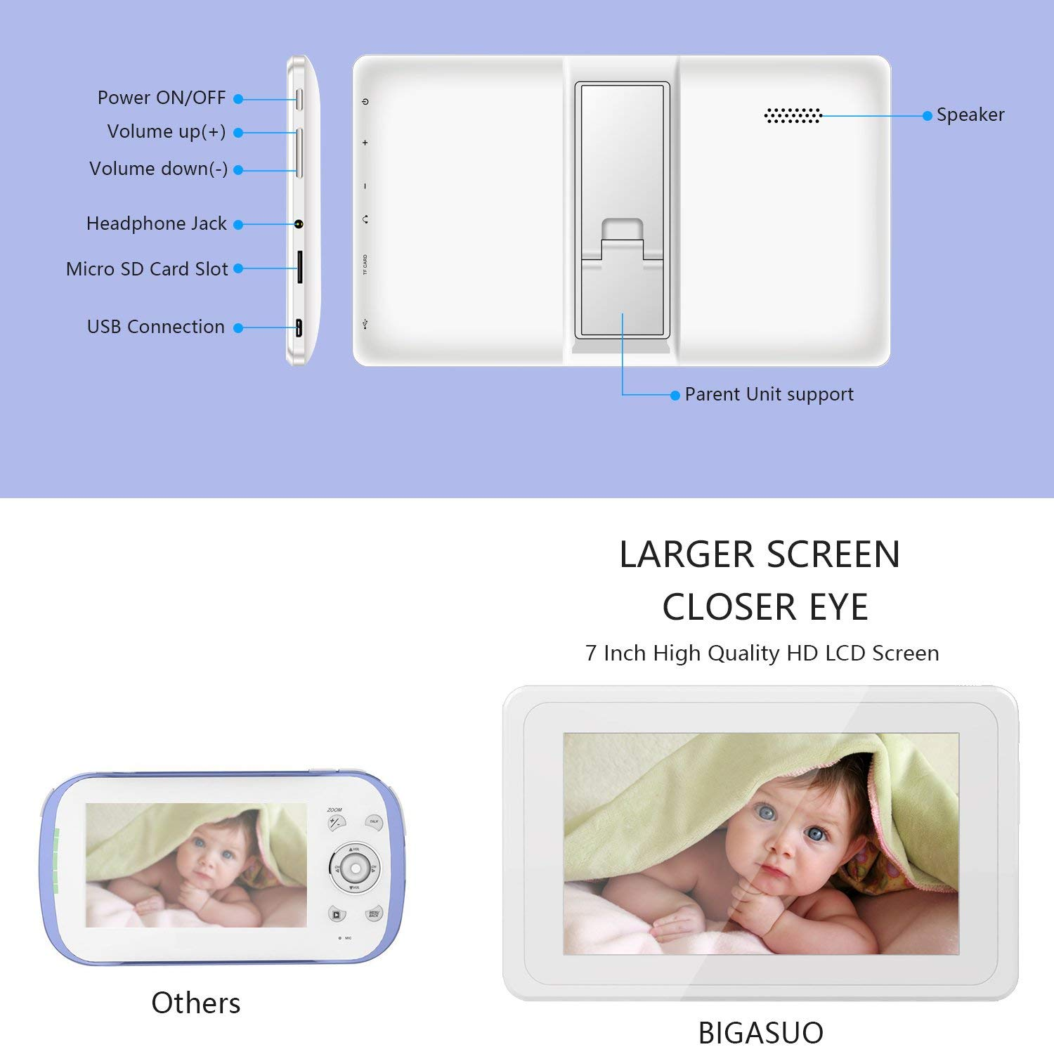 BIGASUO Upgrade Baby Monitor, Video Baby Monitor 7'' Large LCD Screen, Baby Monitors with Camera and Audio Night Vision, Support Multi Camera, Two Way Talk Temperature Sensor, Built-in Lullabies by BIGASUO (Image #8)