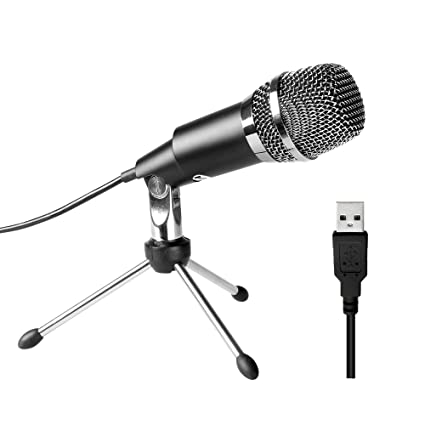 FIFINE USB Microphone, Plug and Play Home Studio USB Condenser Microphone  for Skype, Recordings for YouTube, Google Voice Search, Games-Windows or