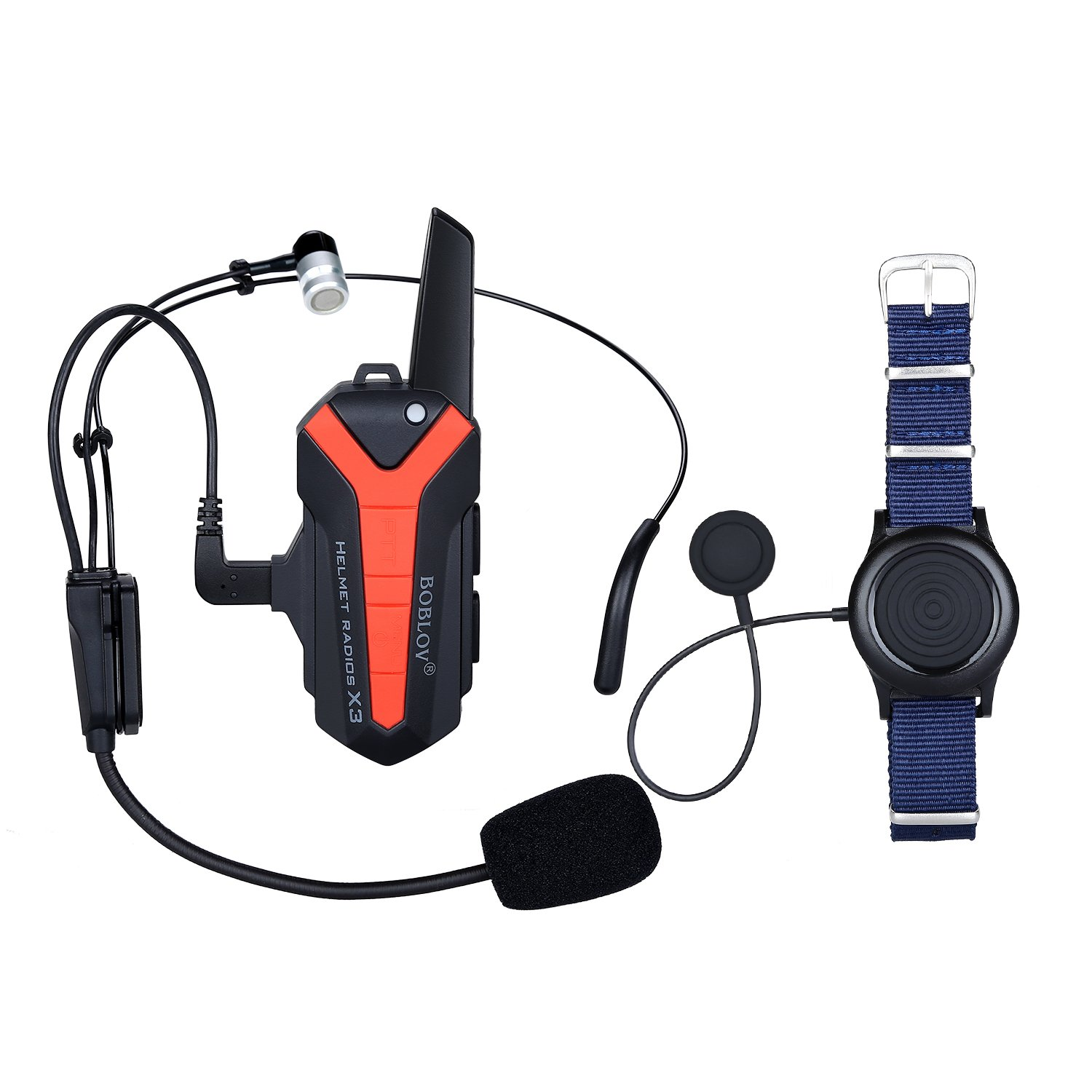 BOBLOV Helmet Headset Motorcycle Communication Intercome for Riding and Skiing 3KM Range Support Multiple Riders Walkie-Talkie with PTT Wireless Control 16 Channels Waterproof (For half helmet)