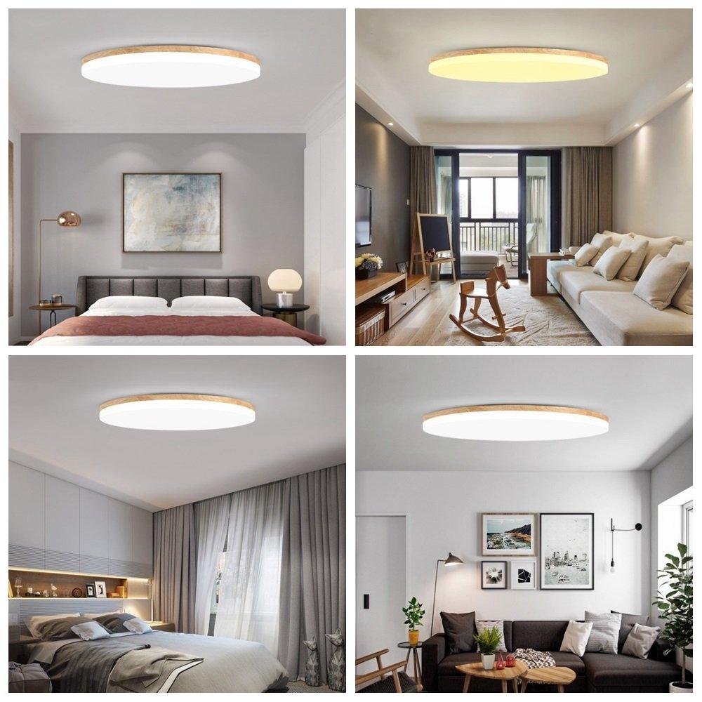 MyLjp Deckenleuchte aus Holz ultra-dünnen Wohnzimmer Lampe runden
