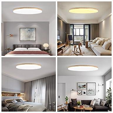 MyLjp Deckenleuchte aus Holz ultra-d/ünnen Wohnzimmer Lampe runden Hause einfache Eiche Deckenleuchte Schlafzimmer Retro-Deckenleuchte mit LED-Linse Zimmer Licht K/üche Innen Flur Beleuchtung AC220V