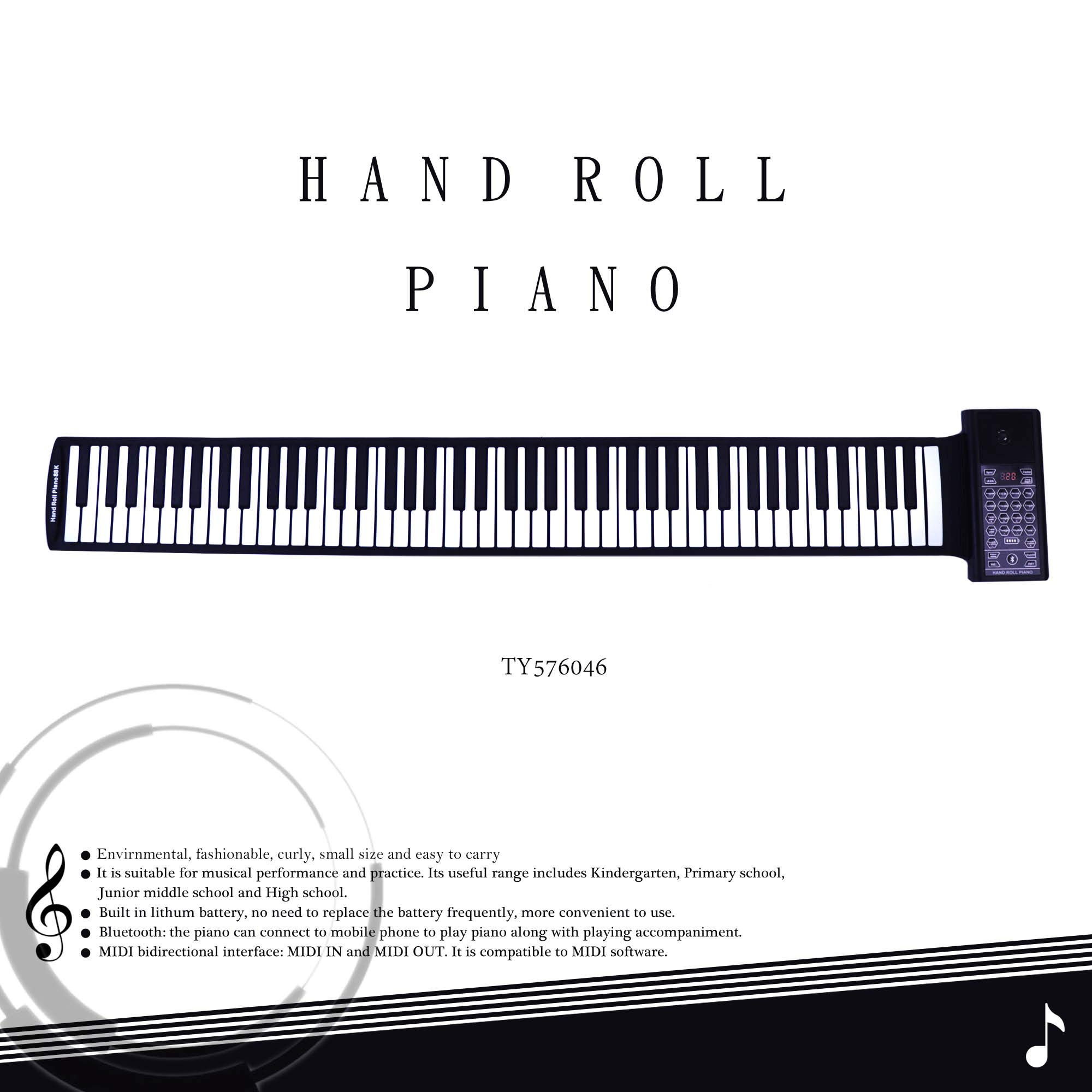 iLearnMusic Roll Up Piano Premium Grade Silicone |THICKENED KEYS | Upgraded Built-in Amplifying Speakers | Portable Piano Keyboard MIDI USB (88 Keys) by Kiker Music (Image #3)