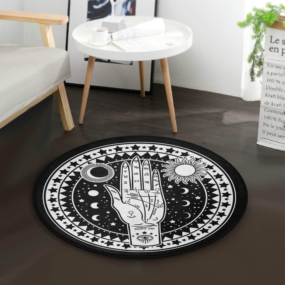 Golden Constellation Round Floor Yoga Mat Bedroom Carpet Living Room Area Rugs