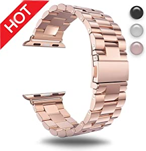 for Apple Watch Rose Gold 38MM/40MM Stainless Steel Strap Wristband for Replacement iWatch Strap with Comfortable Durable Folding Metal Clasp Classic Buckle Wrist Watch Strap,Updated Version