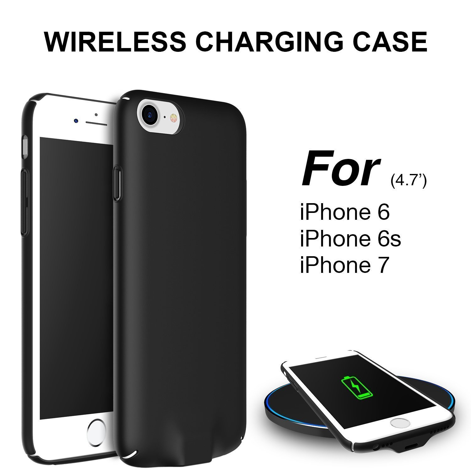 Hoidokly Funda iPhone Qi Receptor Wireless Charging Receiver Case Cargador Inalambrico para iPhone 6s / iPhone 6 - 4,7 Pulgadas