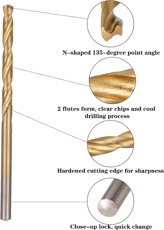 Opopark 120 Pieces Hss Drill Bit Set Titanium Twist Drill Bits Set High Speed Steel Tool 1mm-3.5mm for Wood Plastic Soft Metal Sheet