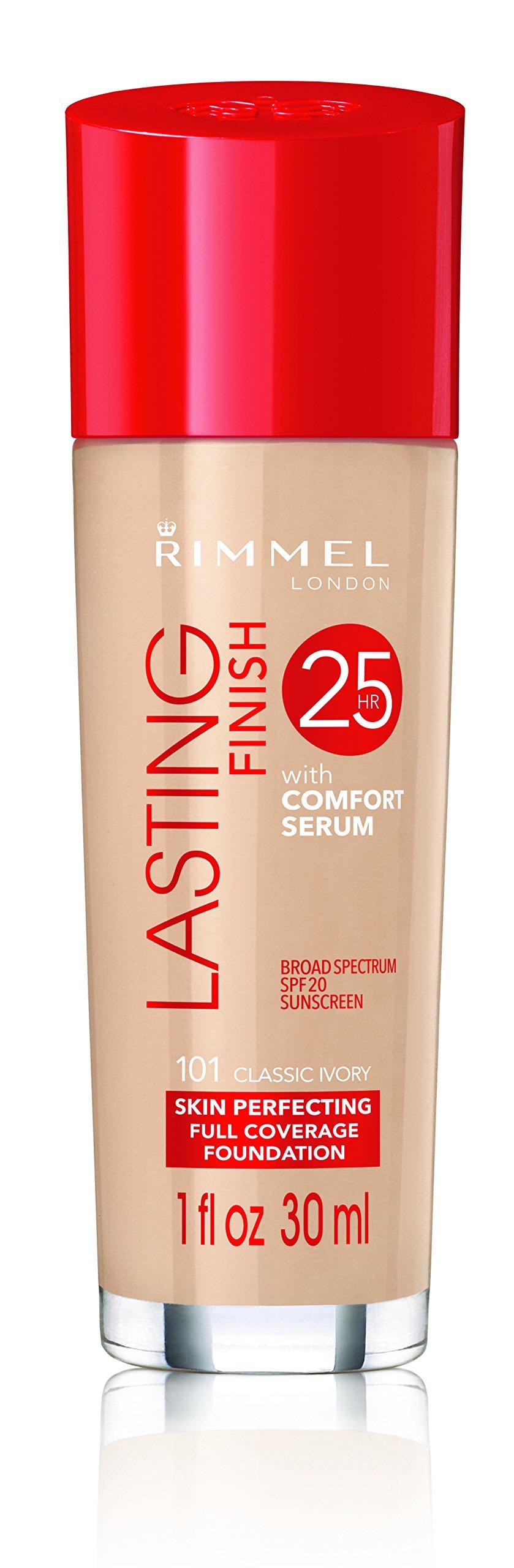 Rimmel Lasting Finish Foundation, Classic Ivory, 1 oz., Medium Coverage Liquid Foundation with SPF 20, Long Lasting Smooth & Even Look