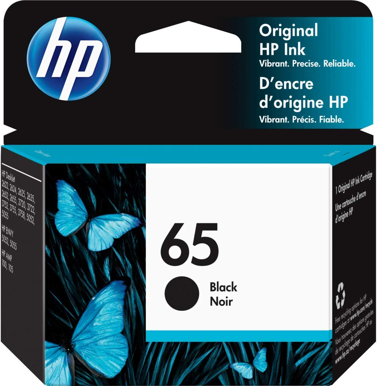 HP 65   Ink Cartridge   Black   Works with HP DeskJet 2600 Series, 3700 Series, HP ENVY 5000 Series, HP AMP 100, 120, 125, 130   N9K02AN