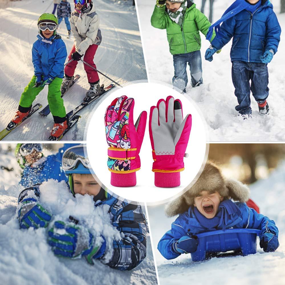 Lepeuxi Ni/ños Guantes c/álidos de Invierno Ni/ños Guantes de Nieve a Prueba de Viento Ni/ños Ni/ñas Guantes al Aire Libre Resistentes al Agua para Esquiar Ciclismo Escalada
