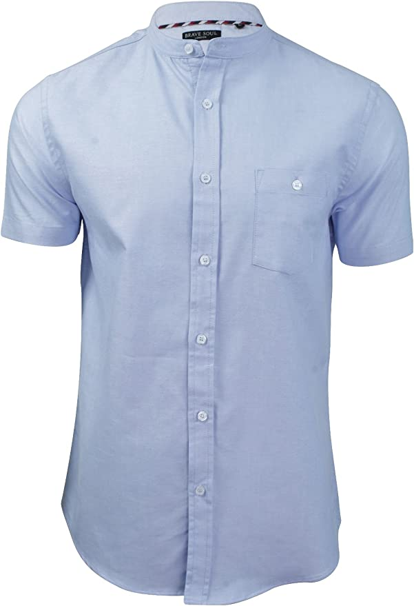Mens Cotton Mix T Shirt Granddad Collar By Brave Soul