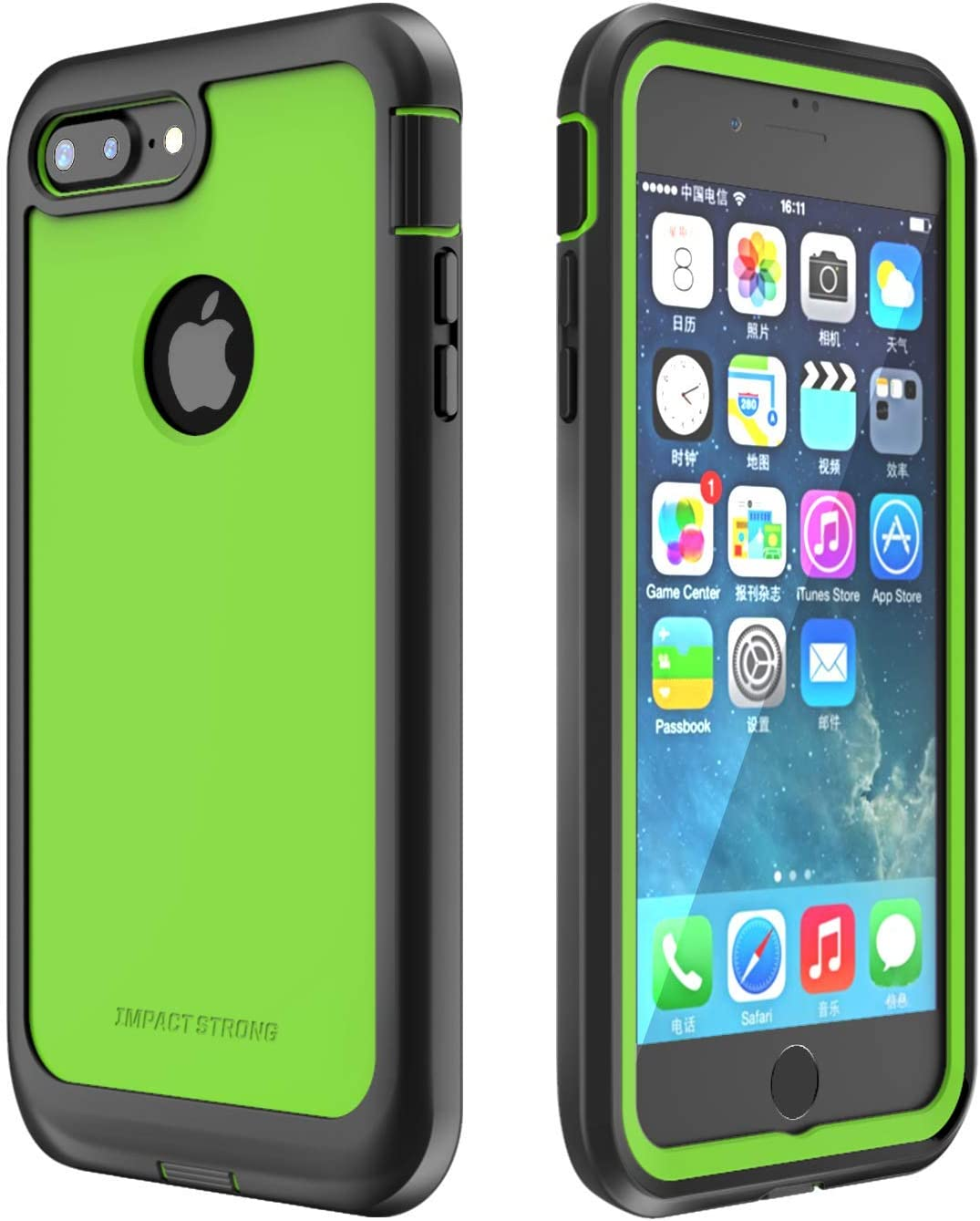 ImpactStrong iPhone 7 Plus/iPhone 8 Plus Case, Ultra Protective Case with Built-in Clear Screen Protector Full Body Cover for iPhone 7 Plus/iPhone 8 Plus (Lime Green)