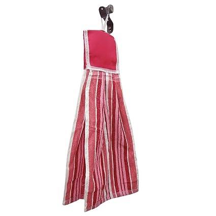 Plato de cocina Rosa Lavar la toalla de mano absorbente de la textura de rizo colgar