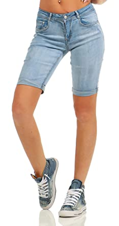 f1bdf1f94617bd Fashion4Young 4971 Damen Jeans Bermuda Denim Shorts Kurze Hose Slim Fit  Stretch Destroyed (blau