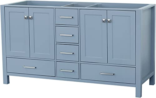 ARIEL Cambridge A061D-BC-GRY 60″ Inch Double Solid Wood Grey Bathroom Vanity Base Cabinet