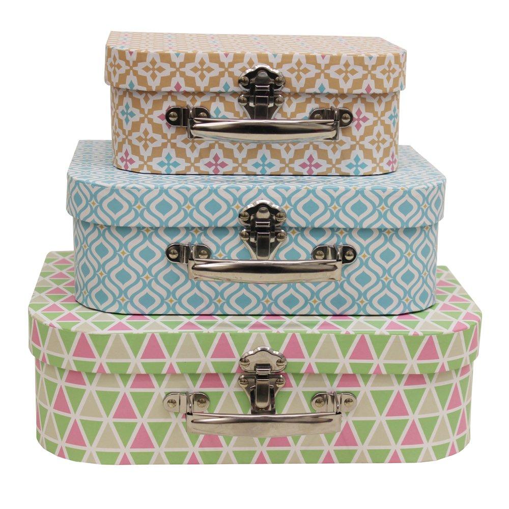 JVL Lot de 3 boites ré tro avec Motif gé omé trique de Style valises de Boudoir, Coloris Pastel 13-337A