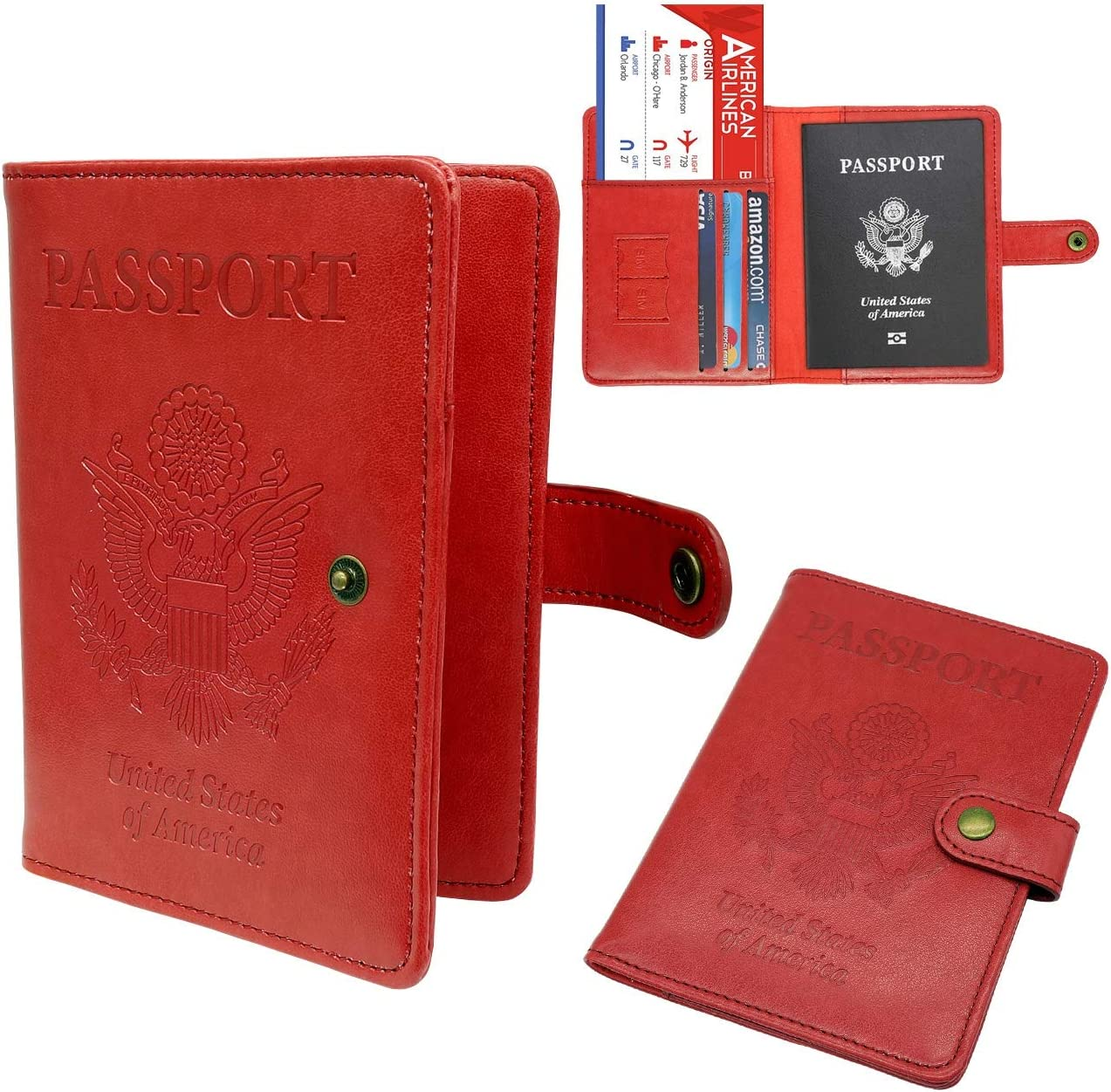 Passport Holder Cover Wallet RFID Blocking Leather Card Case Travel Wallet