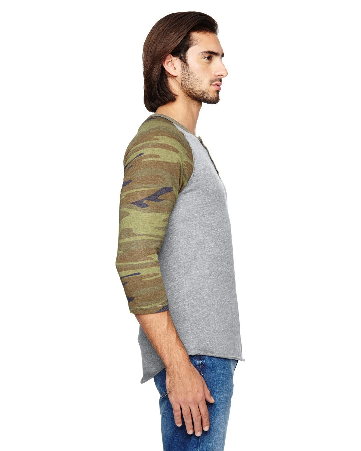 Alternative Quarter Sleeve Henley Tee, Eco GreyCamo, L (Pack of 5)