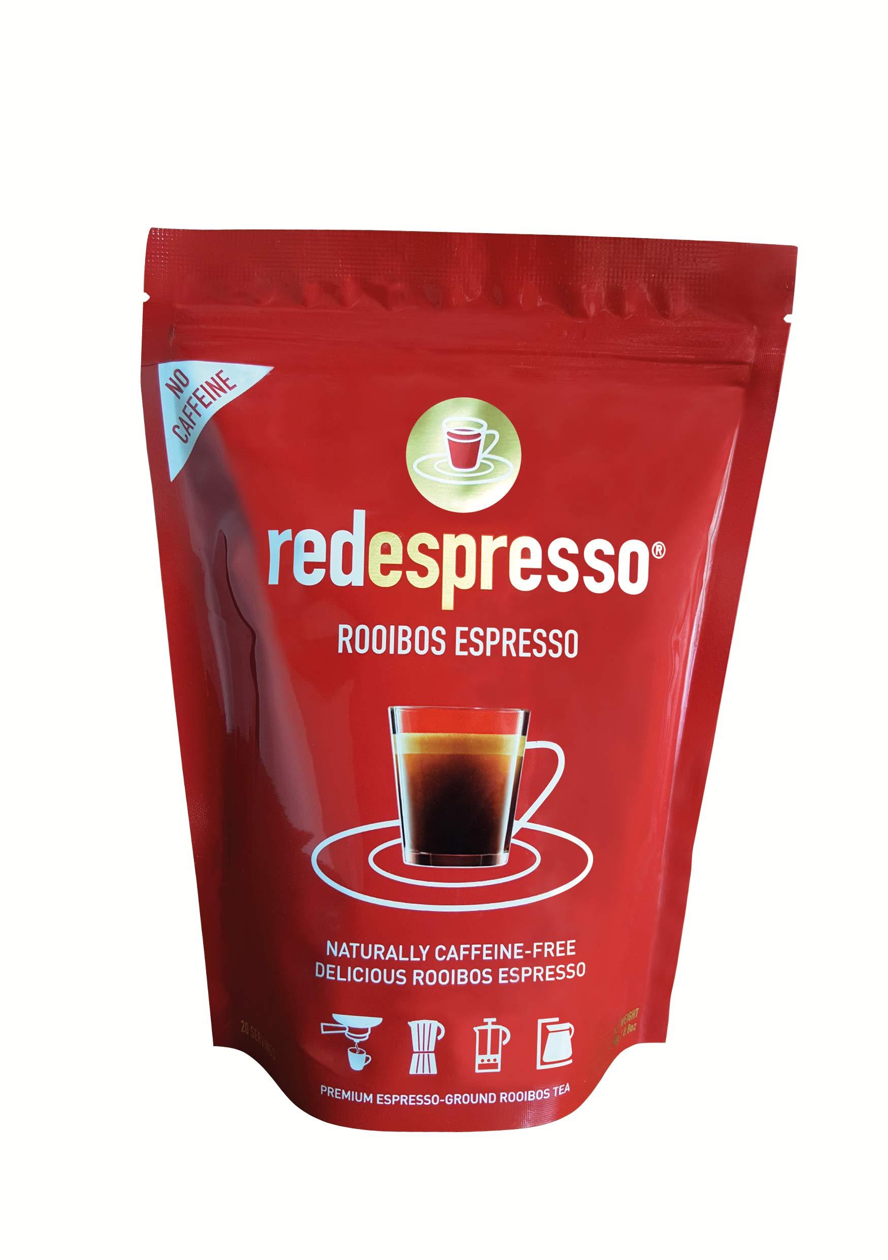 Red Espresso Rooibos - Red Tea - South African - 250g (8.8oz) Ground - Vegan, Non GMO, Antioxidant, Caffeine-Free, Allergy Friendly, Kosher, Organic (8.8oz (250g))