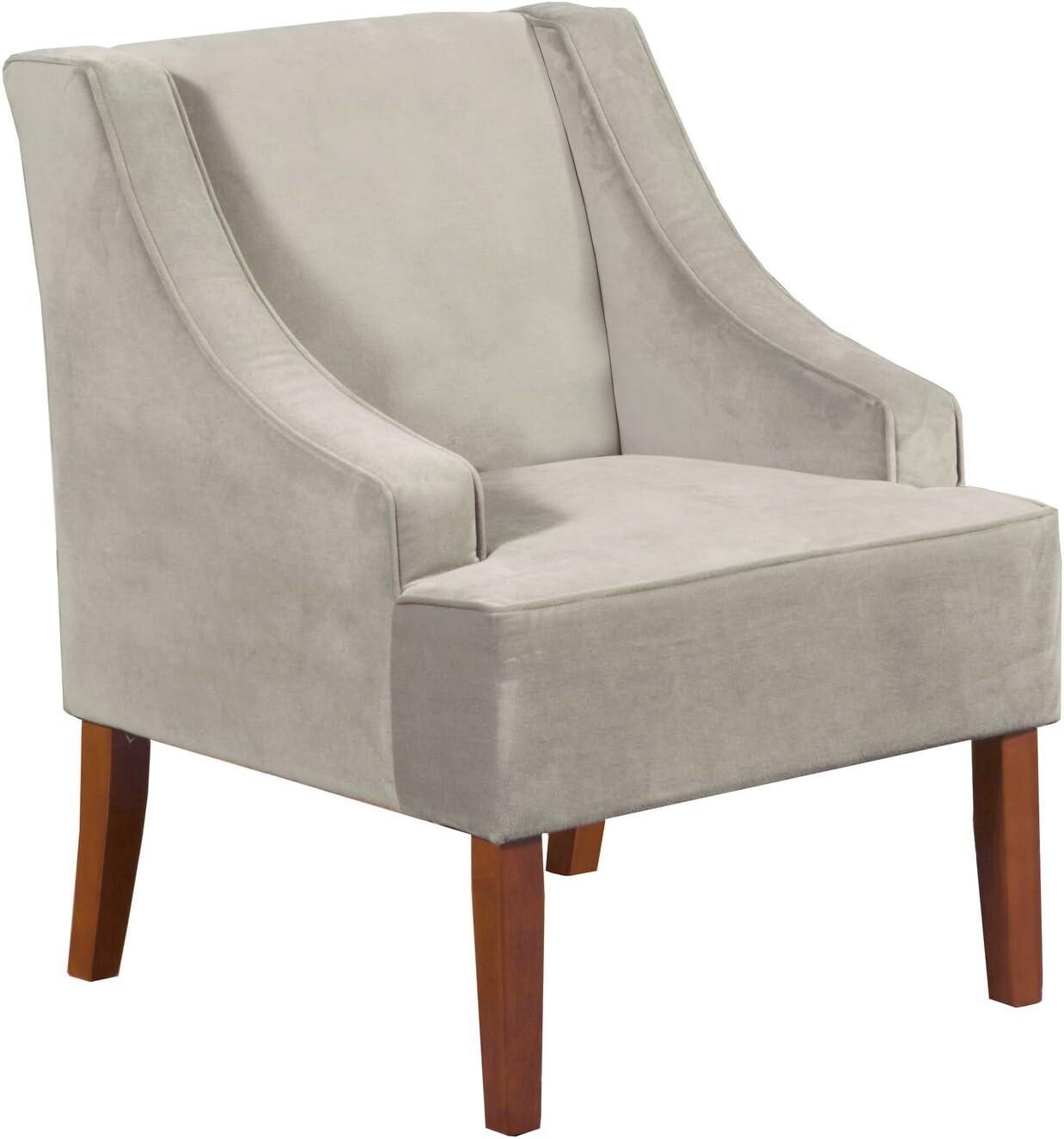 HomePop Velvet Swoop Arm Accent Chair,Gray