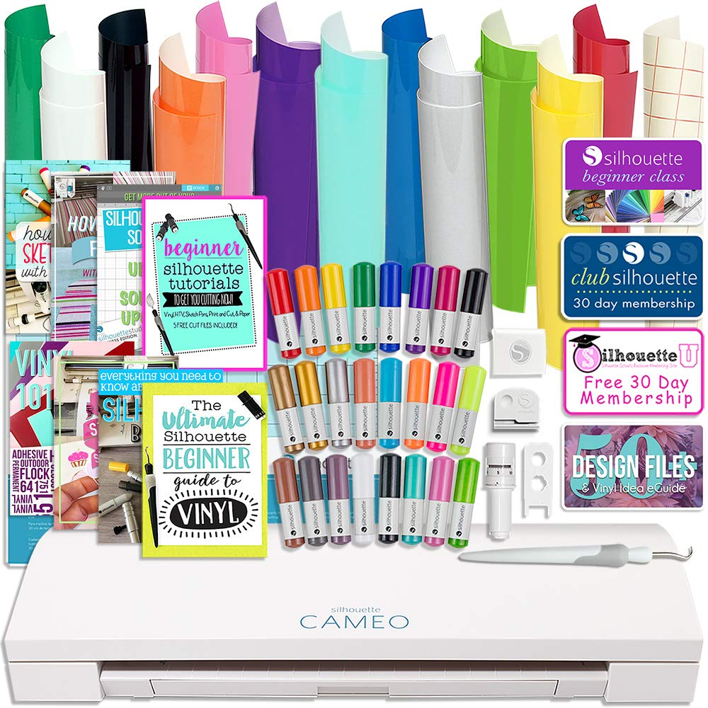 Silhouette Cameo 3 Bluetooth Bundle with 12x12 Inch Oracal 651 Vinyl, 24 Sketch Pens, Guide Books, Online Class