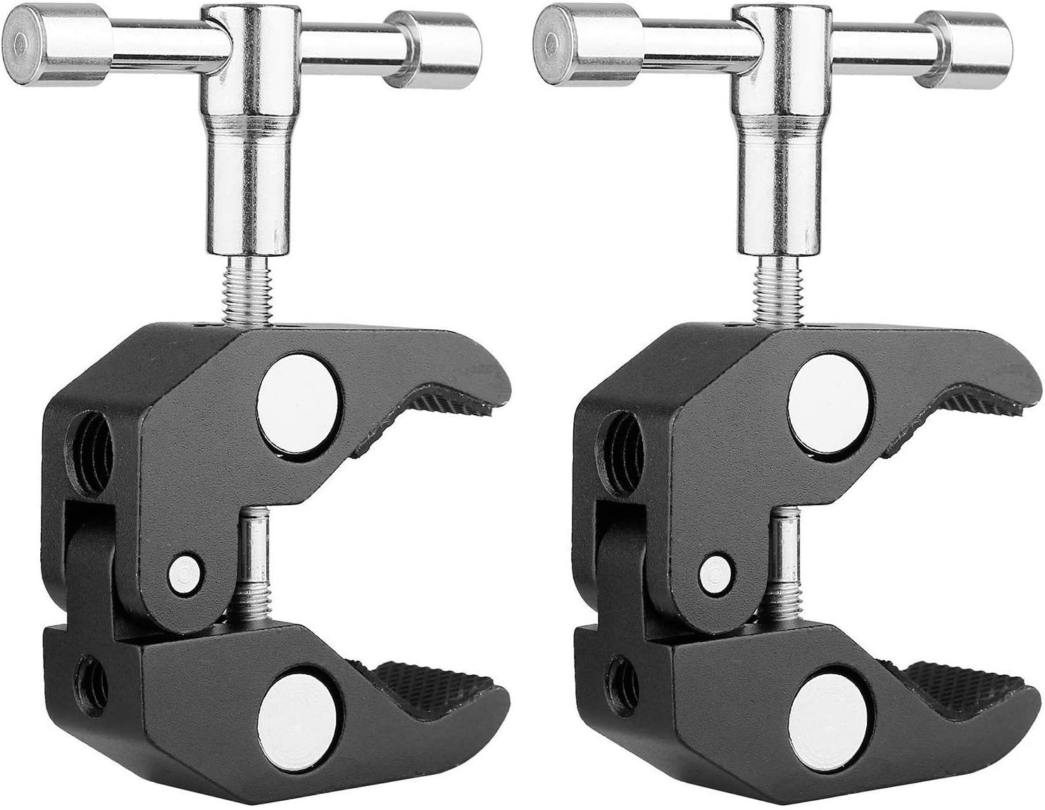 Cross Bars,Photo Accessories and Mo Hooks Shelves Plate Glass Kaliou 2Pack Super Camera Clamp Mount Max Open 2.16//6 cm Crab Clamp for Cameras Umbrellas Lights