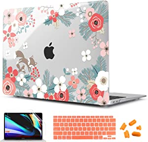 CISSOOK Floral Cover for MacBook Air 13 Inch Case 2020 2019 2018 Released A2337 M1 A2179 A1932 Model with Touch ID, Plastic Hard Shell Case with Keyboard Cover for MacBook Air 13