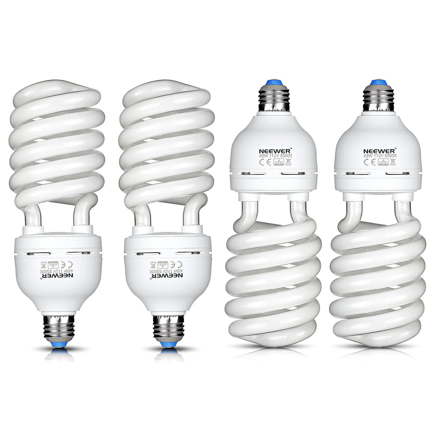Neewer 4x 45W Energy Saving Tri-BAND Spiral CFL Photo Fluorescent Spiral Daylight Light Bulbs for Photo and Video Studio Lighting(4 Pack)