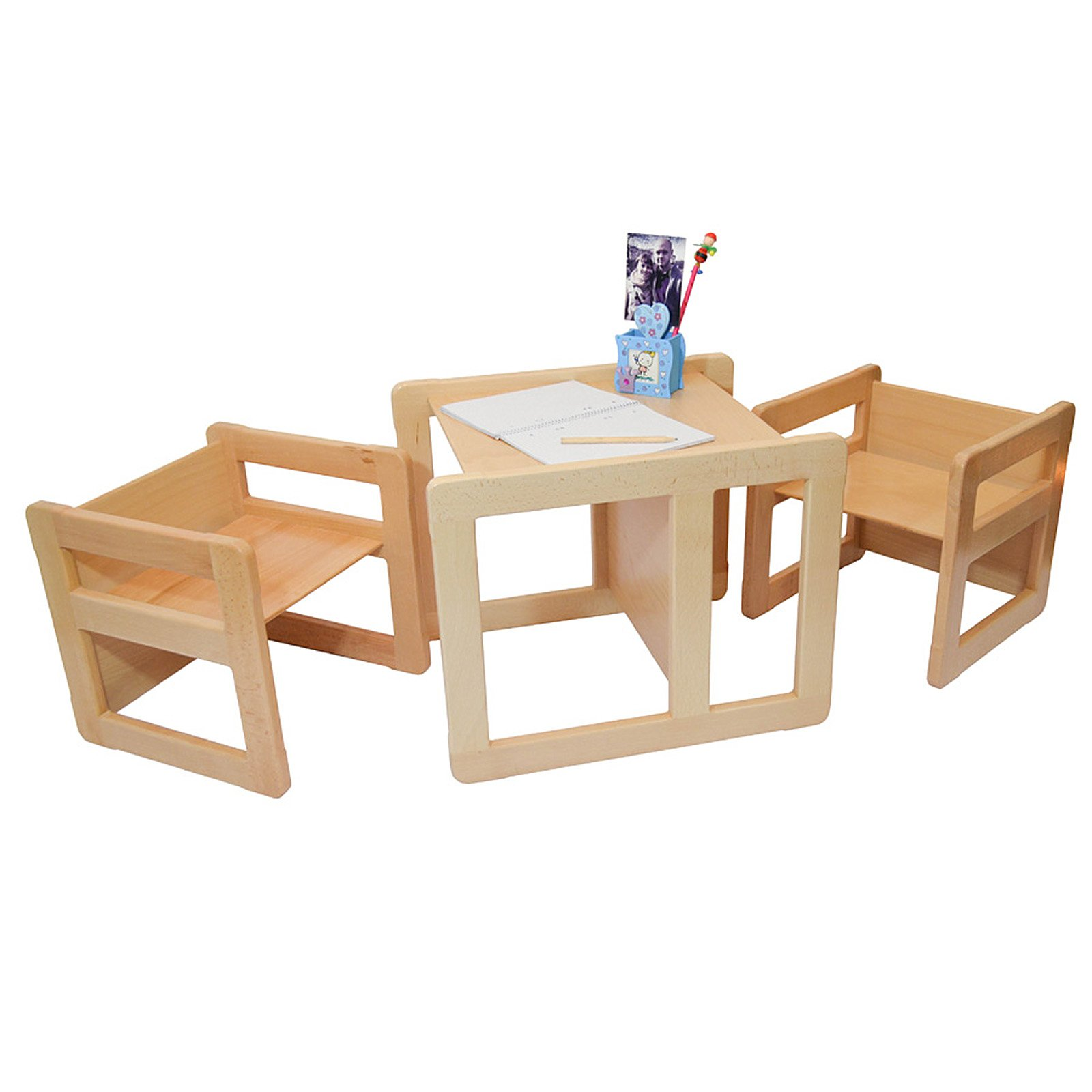 3 in 1 Childrens Multifunctional Furniture Set of 3, Two Small Chairs or Tables and One Large Chair or Table Beech Wood, Natural
