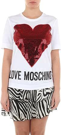 Love Moschino Short Sleeve T-Shirt_Sequin Heart + Logo Camiseta para Mujer
