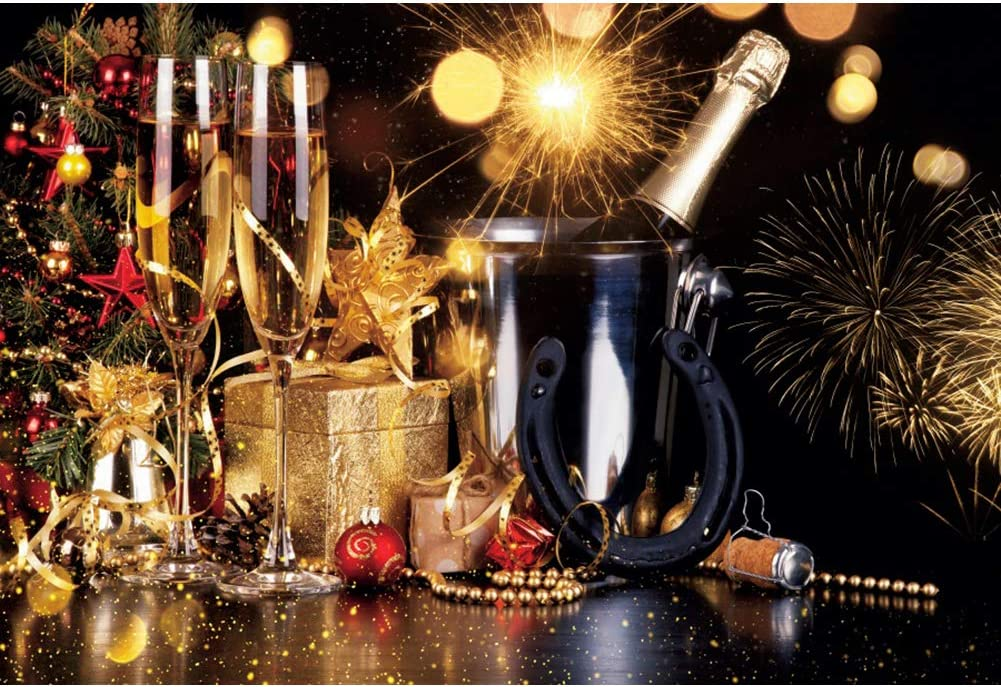 YongFoto 12x10ft Happy New Year Backdrop Christmas Tree Round Ball Champagne Fireworks Bokeh Photography Background Home Decor Christmas Eve Party Winter Festival Portrait Photo Studio