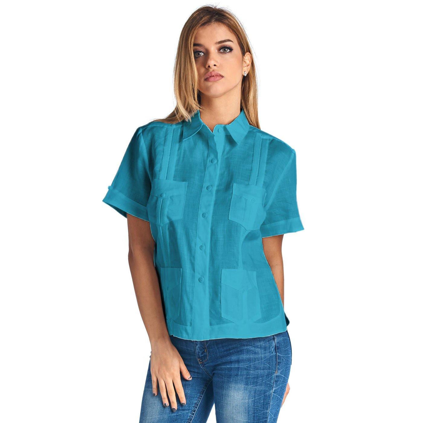 Mojito Lady 100% Linen Gyatabera Short Sleeve Top Aqua Size Medium