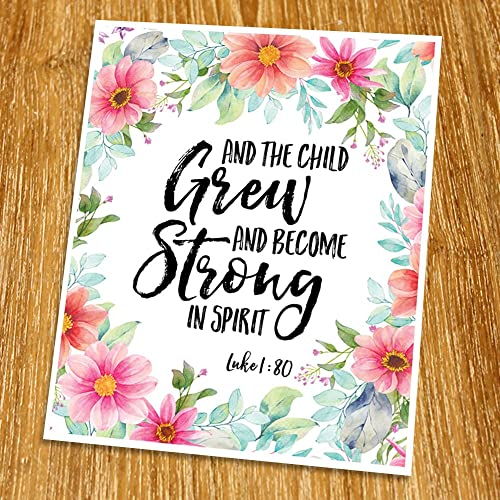 Amazon.com: Luke 1:80 And the child grew and strong in spirit Print ...
