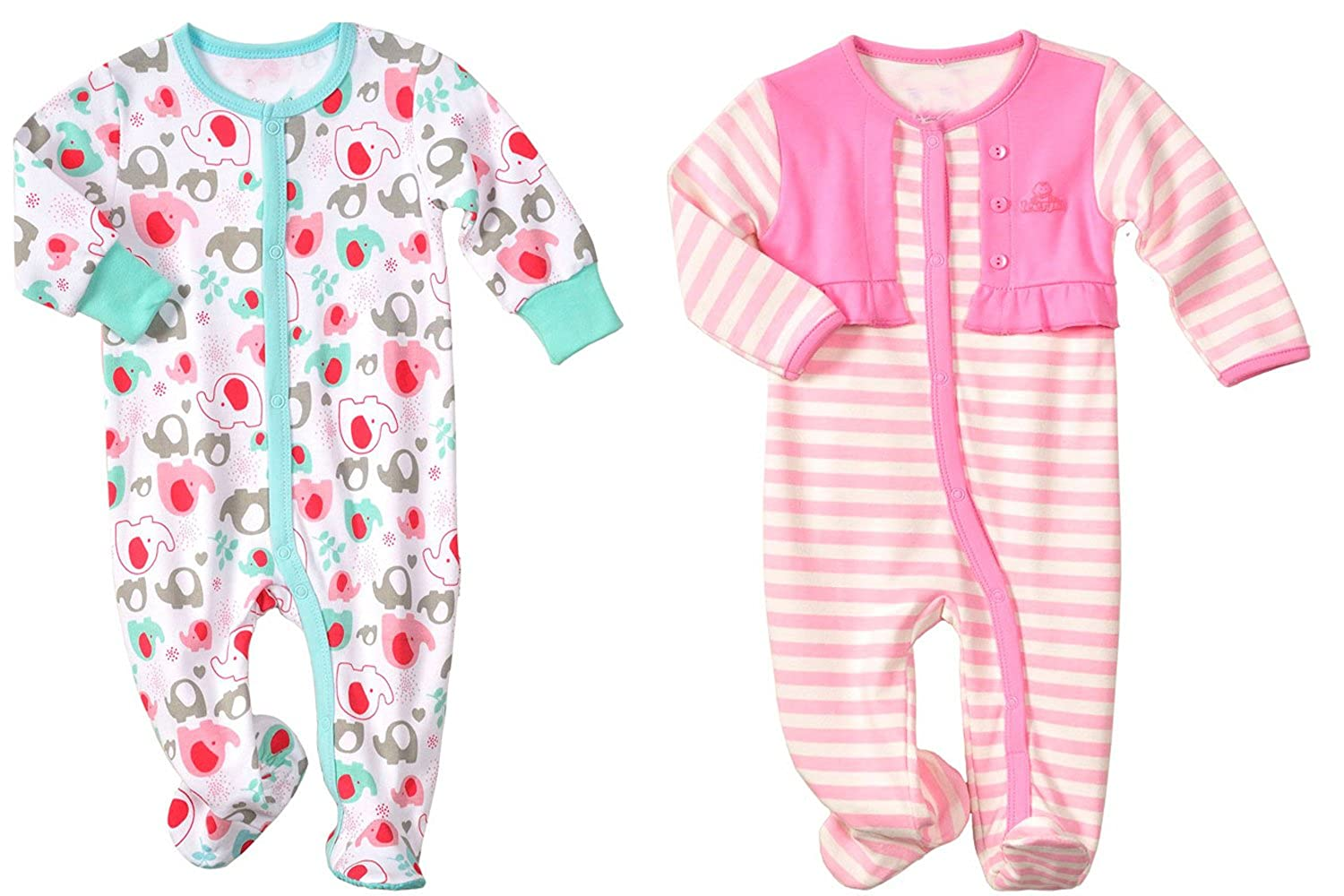 LJ Baby-Girls Newborn Footed Sleep & Play Two Pack
