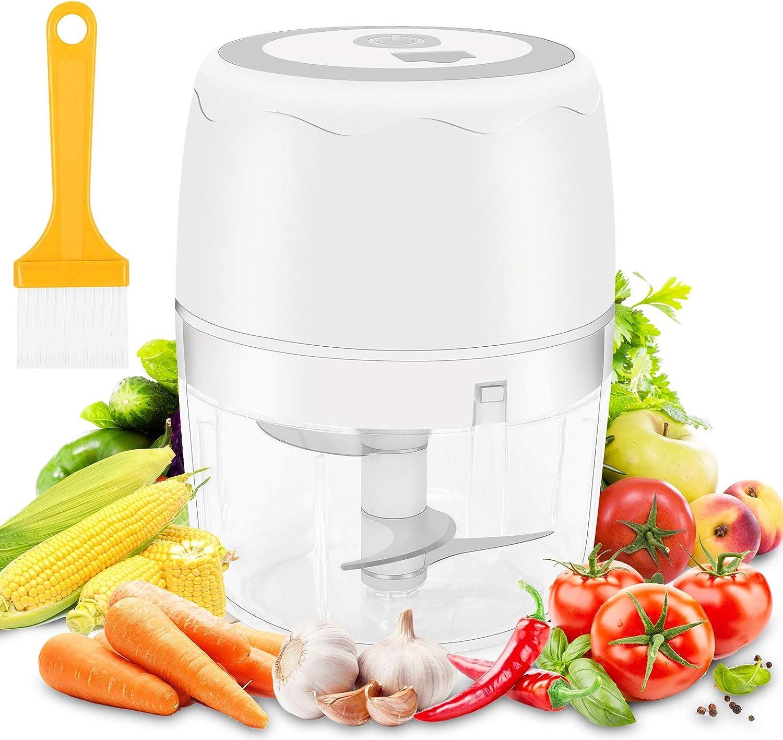 moleath Electric Mini Food Chopper, 400ML Wireless Portable Garlic Grinder, Mincer Blender, Multifunctional Food Slicer Processor for Cutting Garlic,Fruits,Vegetables,Nuts, Meat,Baby Food (White)