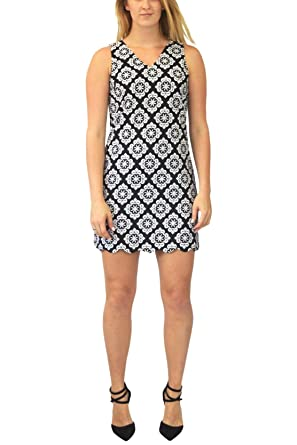 Dorothy Perkins DP Black White Geo Print Sleeveless Shift Dress Black/White 6