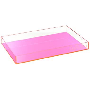 OnDisplay Electric Neon Luxe Clear Acrylic Stackable Cosmetic/Jewelry Tray - Neon Pink/Orange