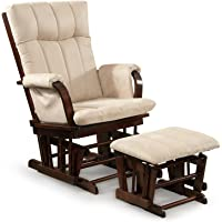 Artiva USA Home Deluxe Microfiber Cushion Cherry Wood Glider Rocker Chair  And Ottoman Set