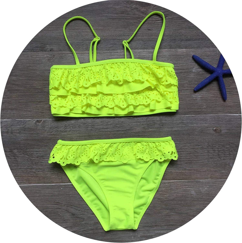 7-16years Children Swimwear Falbala Girls Swimwear Baby Kids Biquini Infantil Swimsuit Bikini Girl New Summer Bathing Suit,B,13 Years