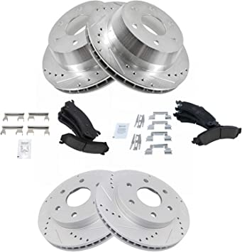 Front /& Rear Performance Drilled Slotted Rotor /& Posi Ceramic Brake Pad Kit