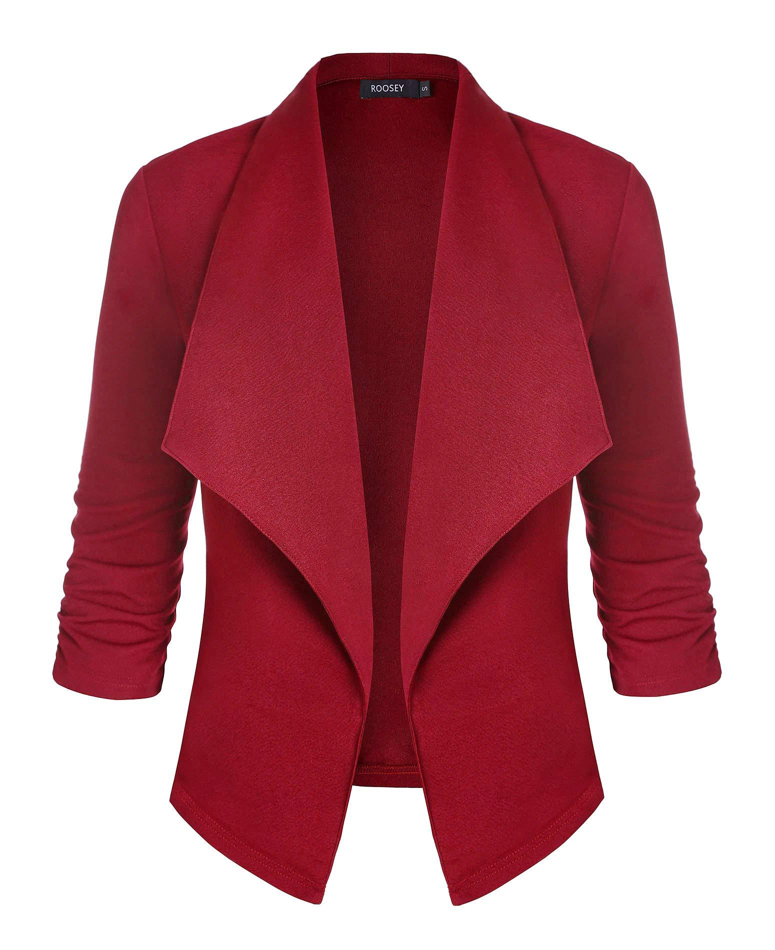 ROOSEY Women's Stretch 3/4 Sleeve Casual Work Office Open Front Blazer Jacket